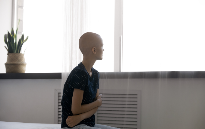 Young women is suffering breast cancer